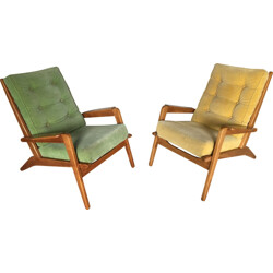"Pair of ""FS 105"" Airborne armchairs, Pierre GUARICHE  - 1950s"