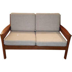 Danish Dyrlund 2-seater sofa in solid teak and beige fabric - 1960s