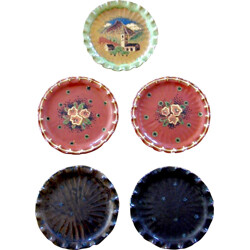 Set of 5 terra-cotta plates, Marc ROUSSEL - 1950s