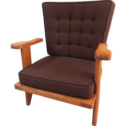Votre Maison armchair in oak and wool, GUILLERME & CHAMBRON - 1950s