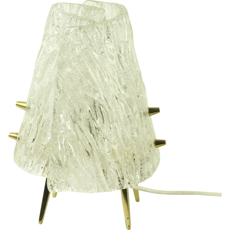 "Austrian ""Iceglass"" table lamp in glass and brass, J. T. KALMAR - 1960s"