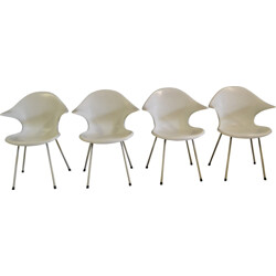 Set of 4 white chairs in fiberglass - 1970s