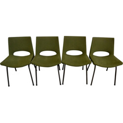 Set of 4 EFA chairs in metal and apple green fabric, Georges FRYDMAN - 1960s