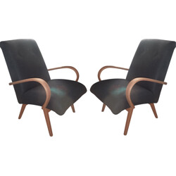 Pair of grey flannel armchairs - 1950s