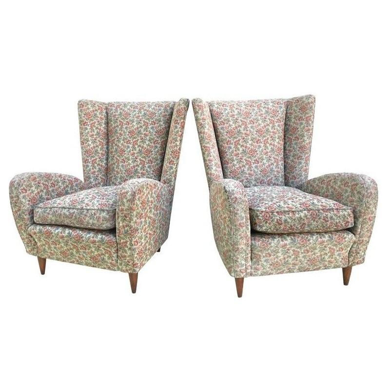 Pair of Italian armchairs in wood and fabric, Paolo BUFFA - 1950s