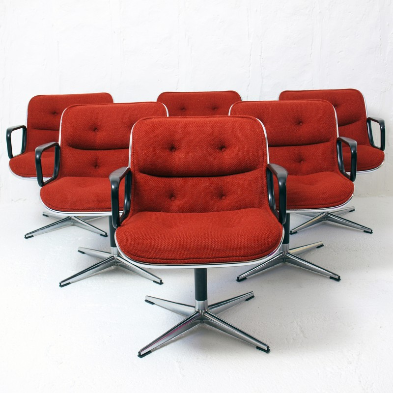 Set Of 6 Knoll Swivel Chairs In Fabric Charles Pollock 1970s Vintage Design Furniture