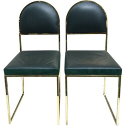 Pair of leather and brass chairs, Willy RIZZO - 1970s
