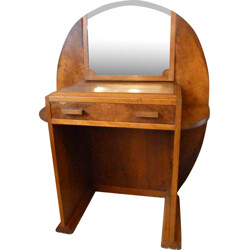 Kid's walnut vanity with mirror - 1940s