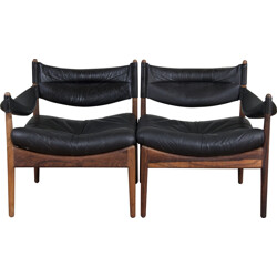 Modus sofa in rosewood and leather, Kristian VEDEL - 1963
