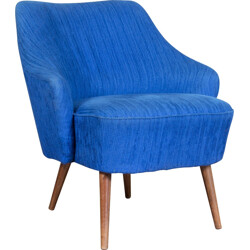 Cocktail chair with blue original upholstery - 1950s