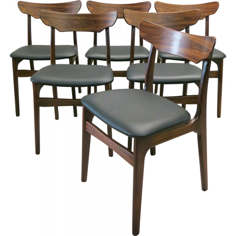 Set Of 6 Danish Chairs In Rosewood, SCHIONNING U0026 ELGAARD   1960s
