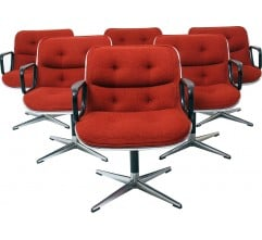 Set of 6 Knoll swivel chairs in fabric, Charles POLLOCK - 1970s