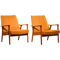 Pair of armchairs in teak and fabric, Inge ANDERSSON  - 1950s