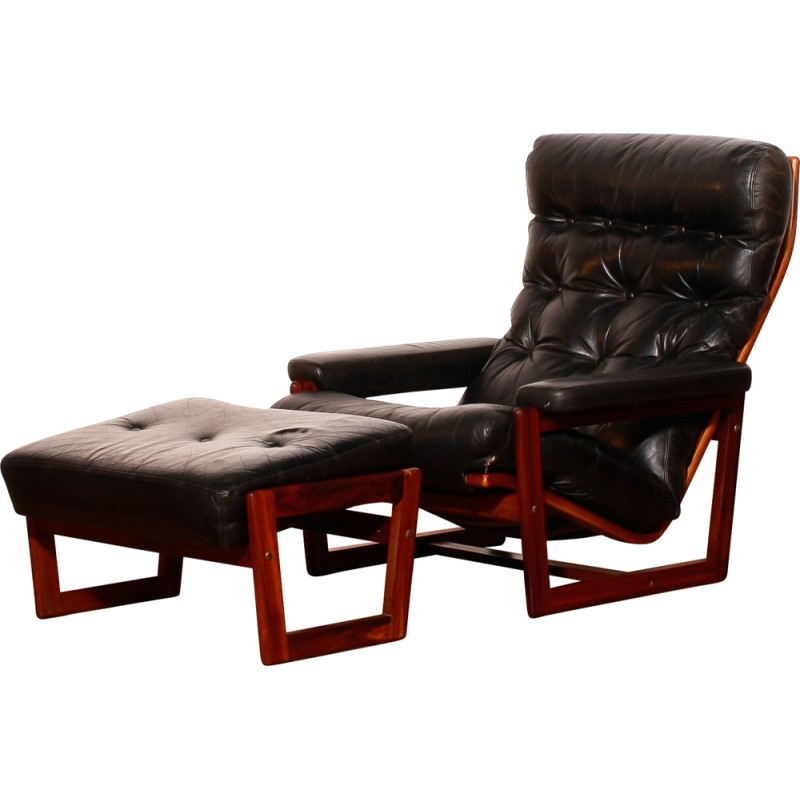 Leather Armchair And Footrest, Lennart BENDER   1950s