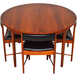 Mid century rosewood extendable table and 4 chairs - 1960s