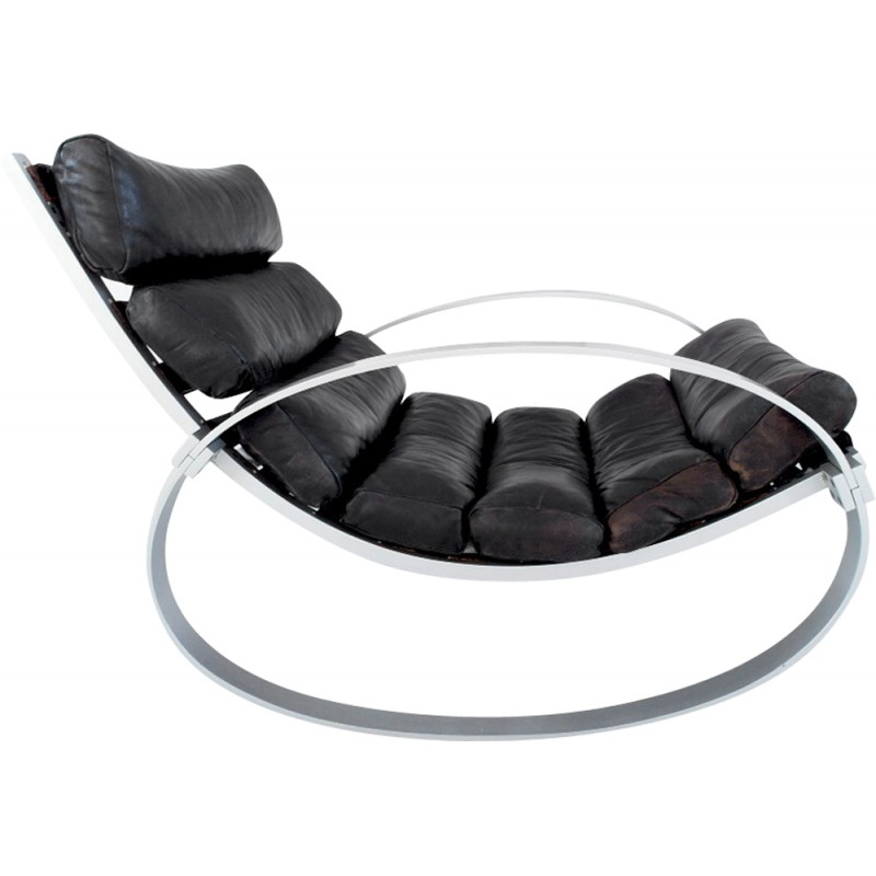 Aluminum and leather rocking chair, Hans KAUFELD - 1970s