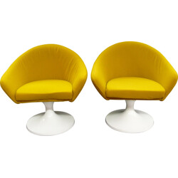 Pair of kid armchairs with mustard fabric - 1960s