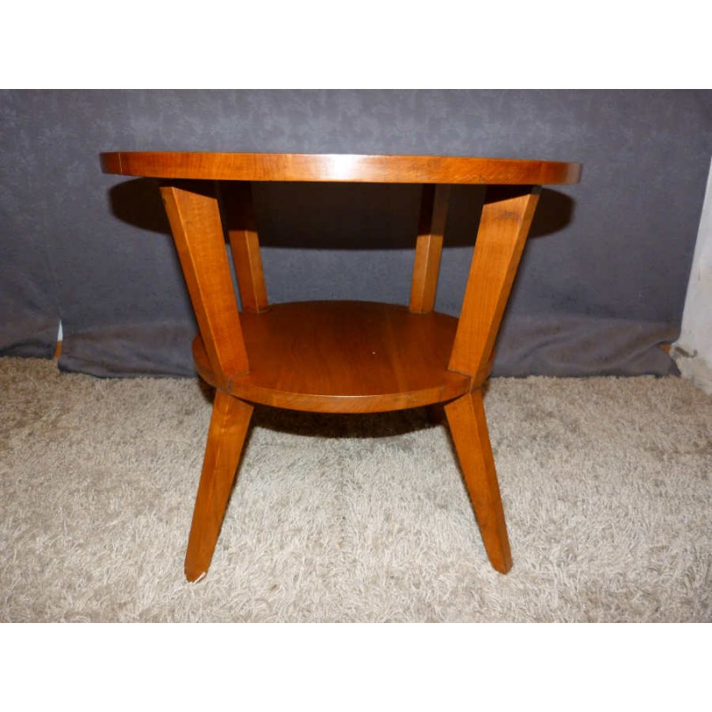 Round Coffee Table In Solid Cherry Wood 1960s Vintage Design Furniture