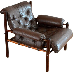 Scandinavian armchair in rosewood and leather, Arne NORELL - 1950s