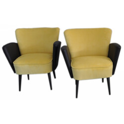 Pair of cocktail chairs in velvet fabric - 1950s