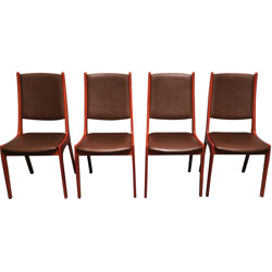 Set of 4 dining chairs in teak and leather, Kai KRISTIANSEN - 1960s