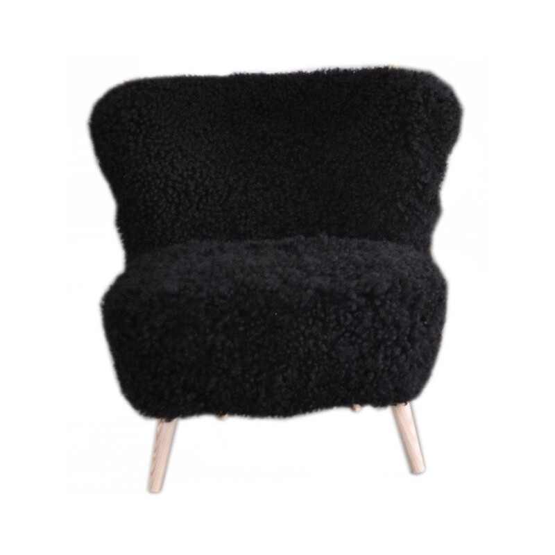 Cocktail club chair in sheepskin - 1960s