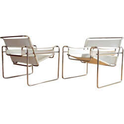 "Pair of white ""wassily"" armchairs, Marcel BREUER - 1980s"