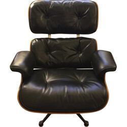 Lounge chair in black leather, Charles and Ray EAMES - 1970s