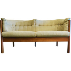 Danish teak 2 seater sofa with shaped seats - 1960s