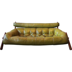 3-Seater sofa in rosewood and leather, Percival LAFER - 1974