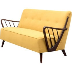 Two seater reupholstered yellow sofa - 1950s