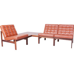 "France & Son ""Moduline"" living room set in rosewood and leather, Ole GJERLØV-KNUDSEN & Torben LIND - 1960s"