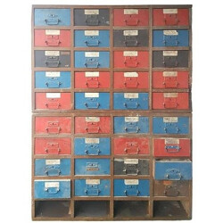 Large industrial storage with 36 drawers - 1950s