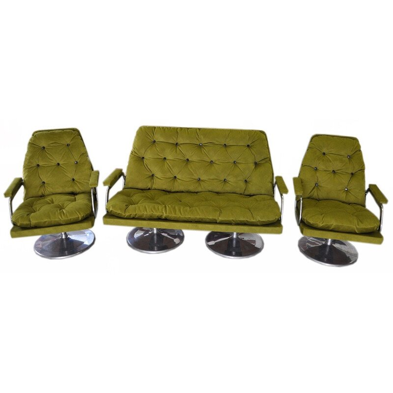 Set of sofa and two matching armchairs in fabric - 1960s