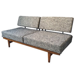 """Stella"" daybed in wood and fabric, Wilhelm KNOLL - 1950s"