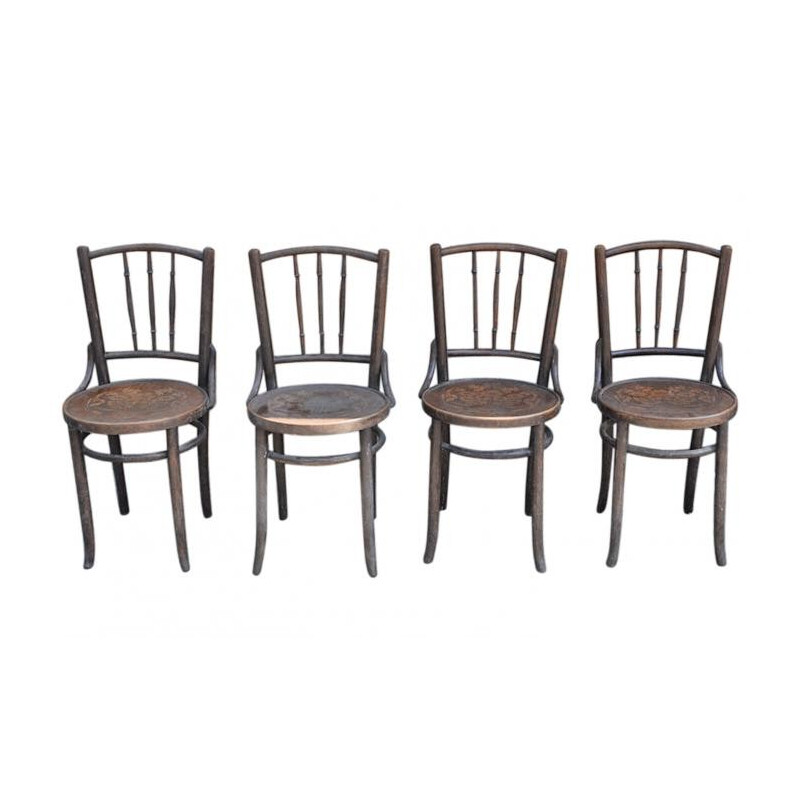 Set of 4 old Thonet chairs in wood - 1930s