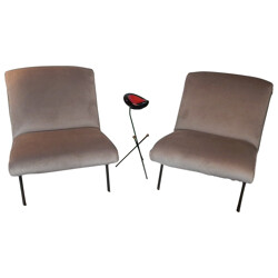 Pair of low chairs, Joseph-André MOTTE - 1950s