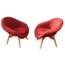 "Pair of Czech ""Cocktail"" armchairs, Frantisek JIRAK - 1950s"