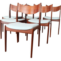 Set of 6 dining chairs with new woolen fabric - 1950s