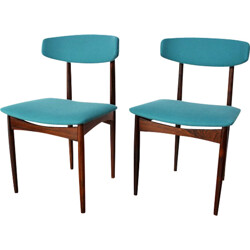 Pair of Rio rosewood chairs with new fabric - 1960s