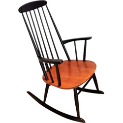 Mid-century rocking chair in beech and teak - 1950s