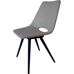 """Thonet """"Tonneau"""" chair in wood and faux leather - 1940s"""
