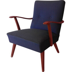 Armchair in beech and blue fabric - 1950s