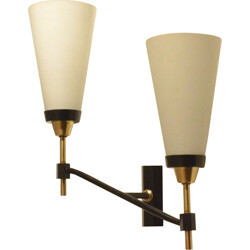 French Maison Arlus wall lamp in brass and opaline glass - 1950s