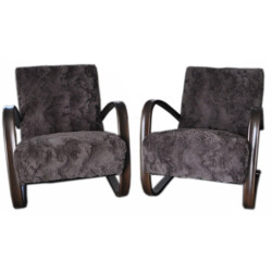"""Pair of """"H 269"""" armchairs in faux fur, Jindrich HALABALA - 1930s"""