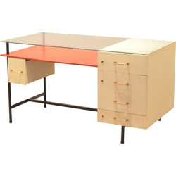 French mid-century desk in solid wood and glass - 1950s