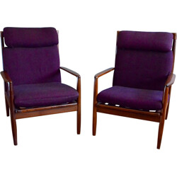 Pair of vintage armchairs in solid teak and fabric, Grete JALK - 1960s