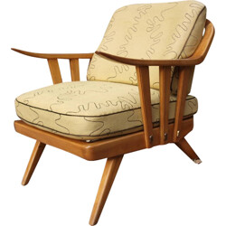 Mid-century armchair in light yellow fabric and wood - 1950s