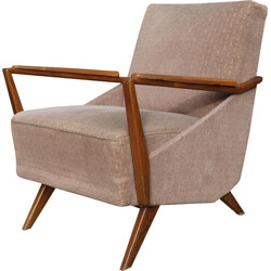 Dusky pink armchair in velvet and wood - 1950s