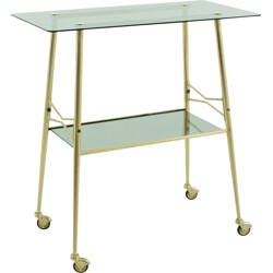 Serving trolley in smoked glass and brass - 1950s